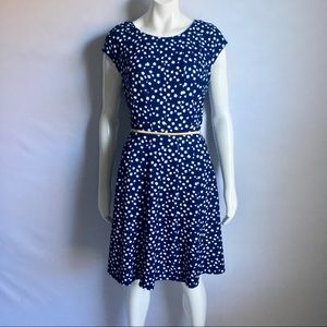 Elle Fit & Flare Polka Dot Style Dress Sz Large
